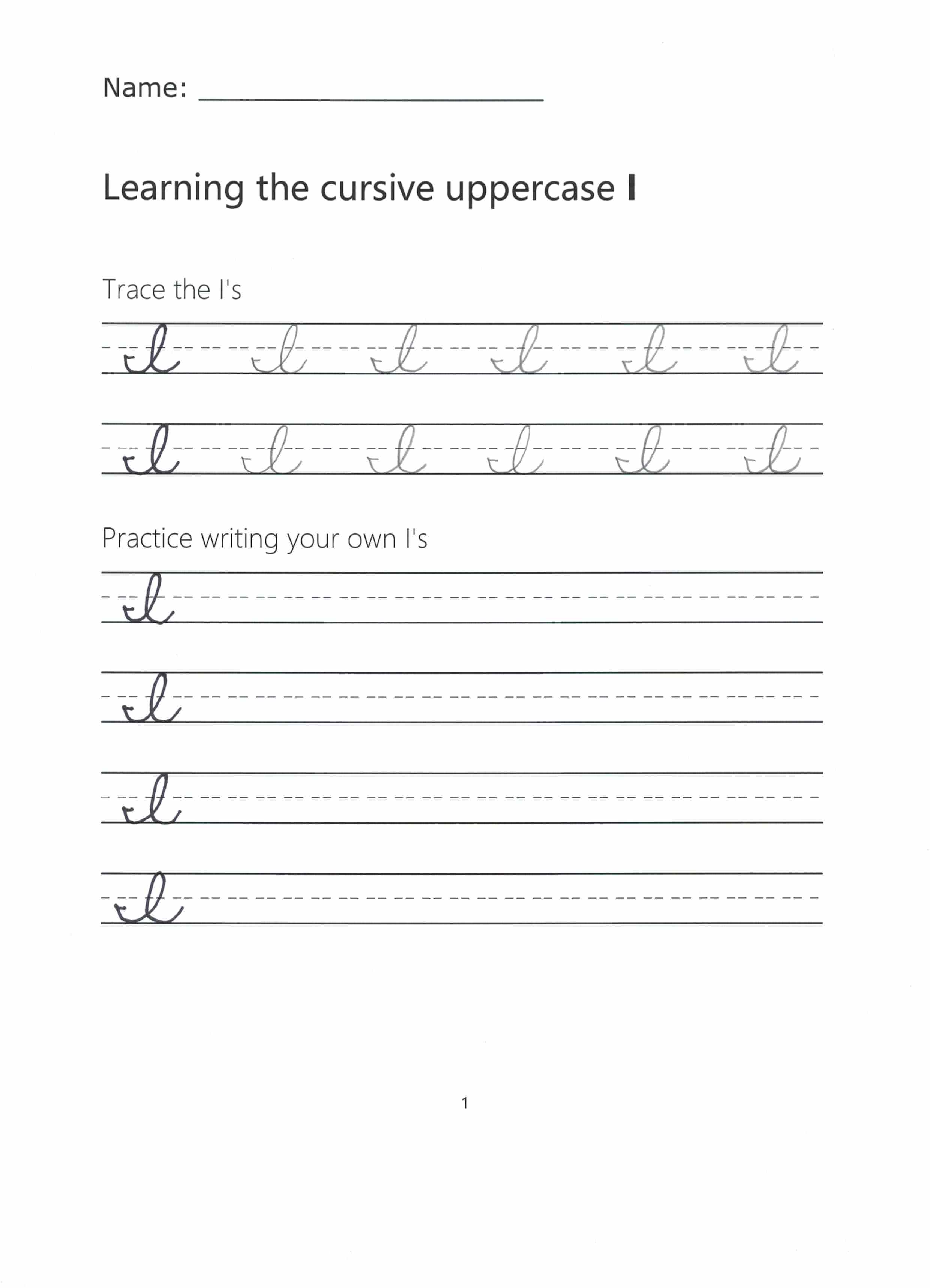 Preview of Worksheet for writing the Uppercase letter I in cursive